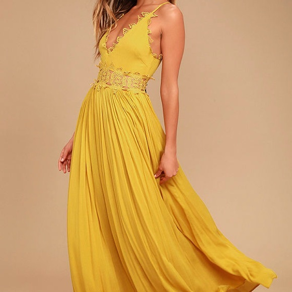 c9eb09a895a This is love mustard yellow lace maxi dress L NWT